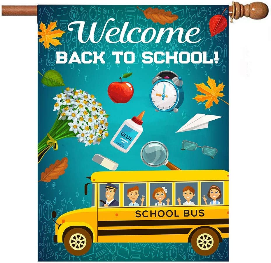 N\ A Garden Flag 28x40 Double Sided Autumn Welcome Back to School Bus Decorative House Yard Flags for Outside Outdoor Welcome Home Decor Banner Large Size 28 x 40 inches