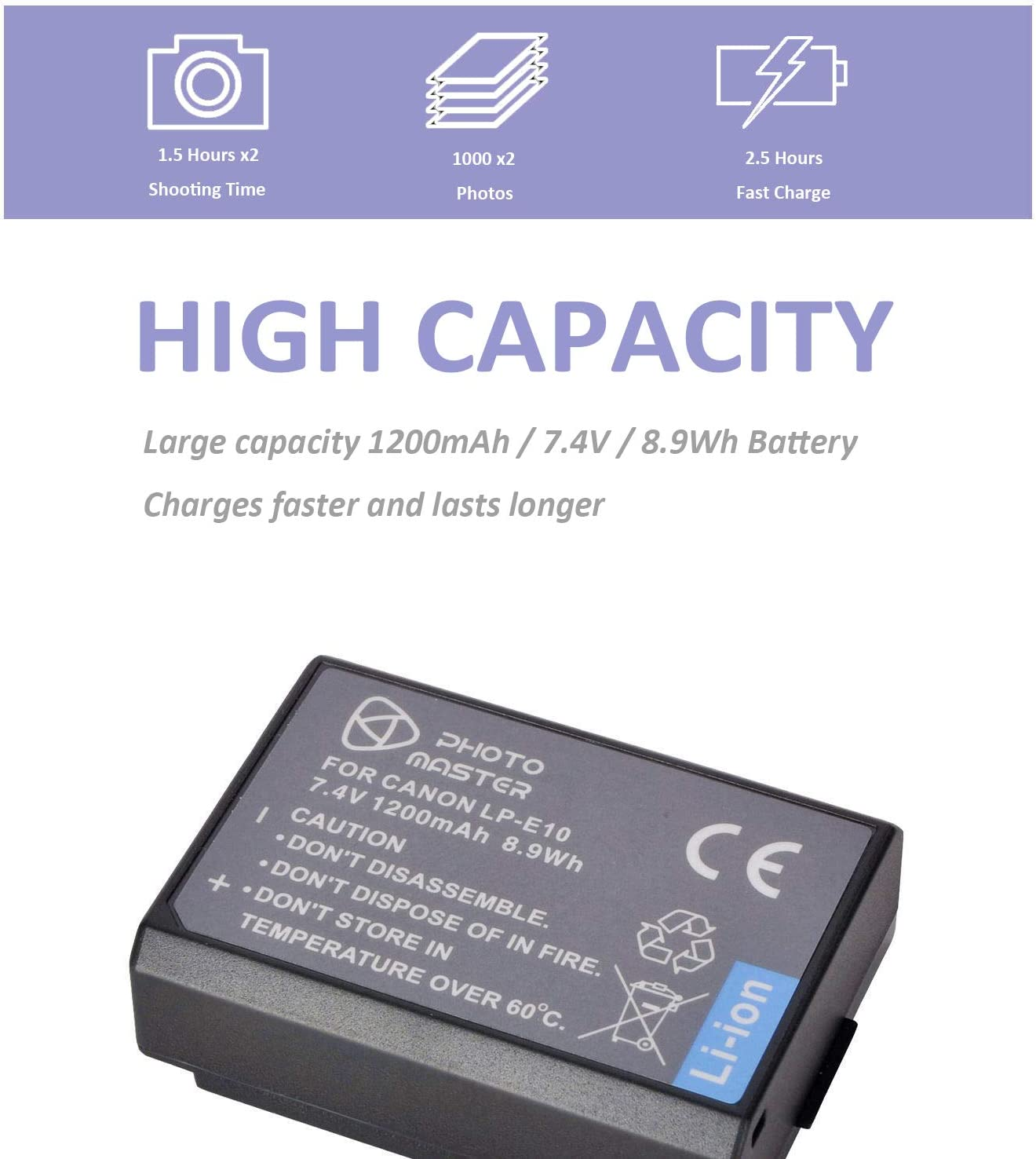 Nueva Cámara Digital Batería LP-E10 LPE10 para Canon EOS 1100D 1200D 1300D Reino Unido
