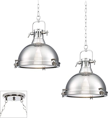 Arlo Chrome Dome Swag Pendant Chandelier Modern Industrial 2-Light Fixture for Dining Room House Foyer Kitchen Island Entryway Bedroom Living Room – Possini Euro Design
