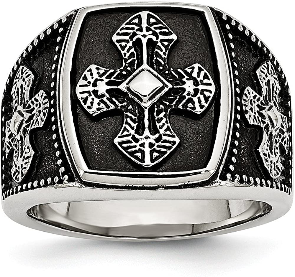 Stainless Steel Polished and Antiqued Cross Ring Size 11 Length Width