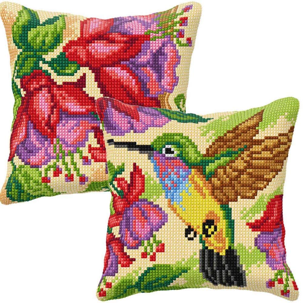 Orchidea Humming Brid & Exotic Flower Pillow Covers Set/2 Needlepoint Kit by Orchidea