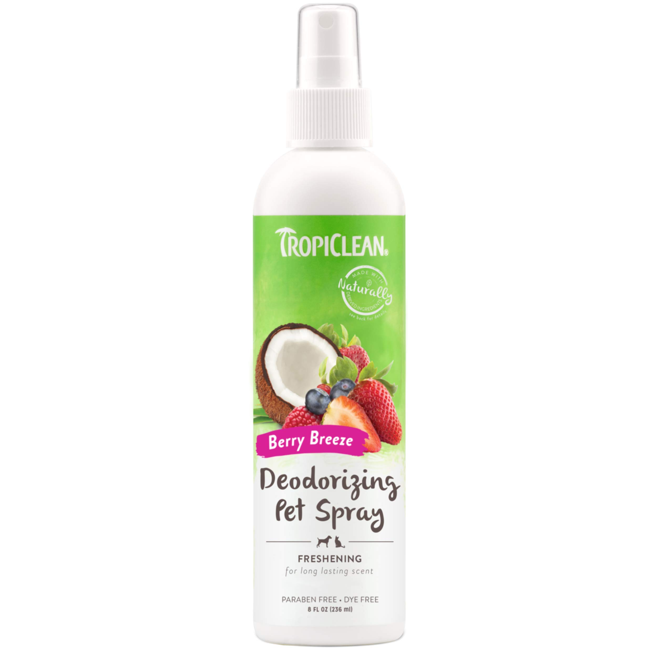 TropiClean Deodorizing Sprays for Pets, Made in USA - Made in USA - Helps Break Down Odors to Effectively Deodorize Dogs and Cats, Paraben Free, Dye Free