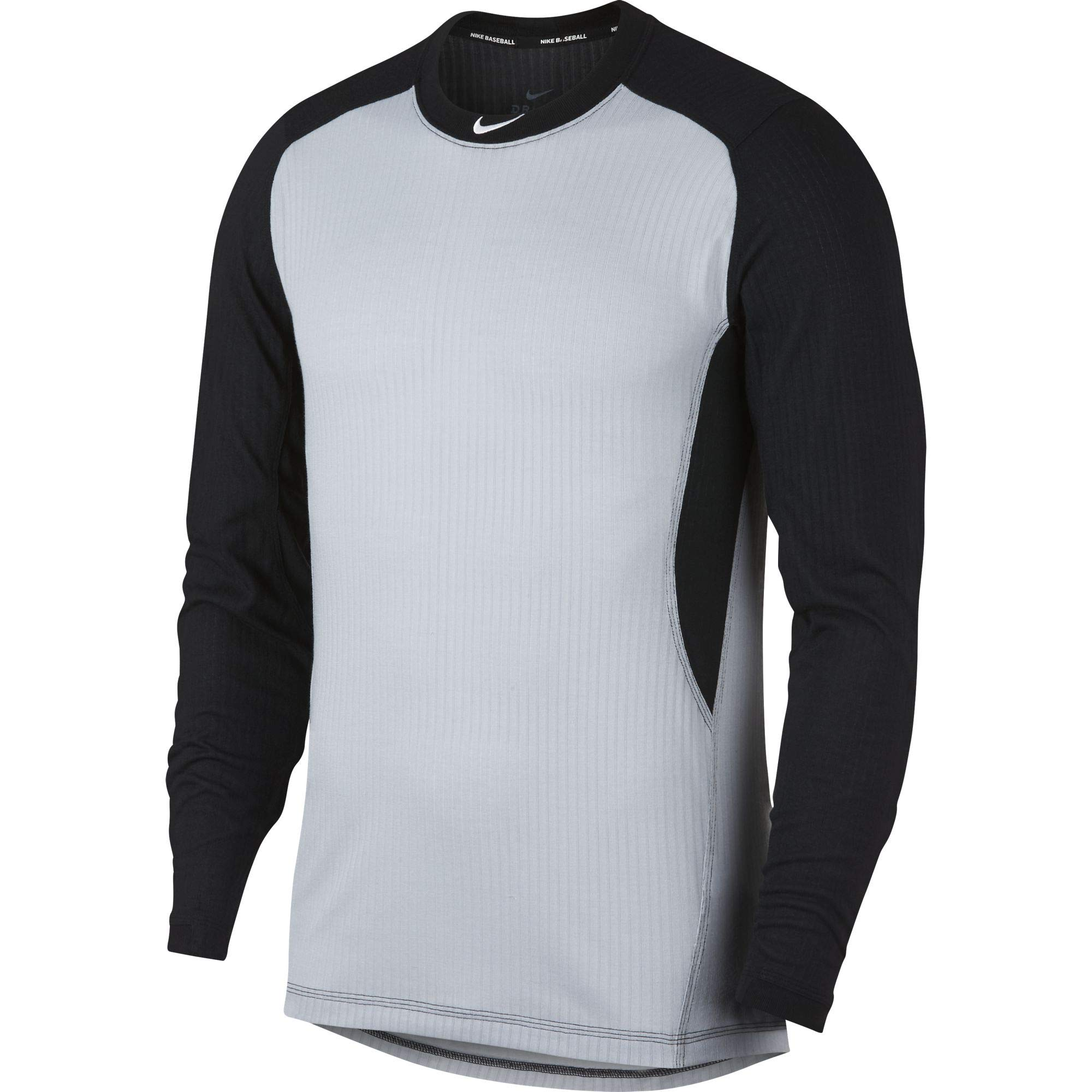Nike Men's Long Sleeve Baseball Top Wolf Grey/Black/White Size Medium