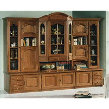 German Furniture Warehouse China Cabinet, Large, Solid Filled Oak Wood,  Hutch With Glass