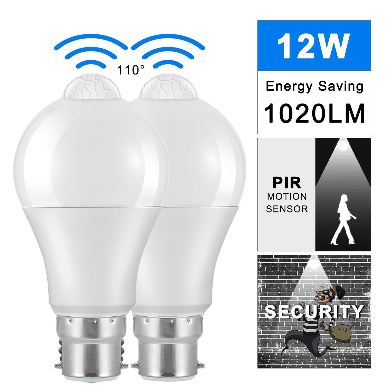 Bonlux 5W B22 PIR Motion Sensor Detector LED Bulb Cool White 6000K A60 A19 GLS B