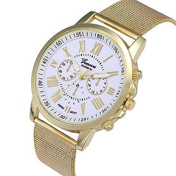 Relojes Pulsera Mujer, Xinan Moda Clásica de oro Cuarzo Ginebra Reloj de Pulsera de Acero inoxidable (Blanco): Amazon.es: Deportes y aire libre