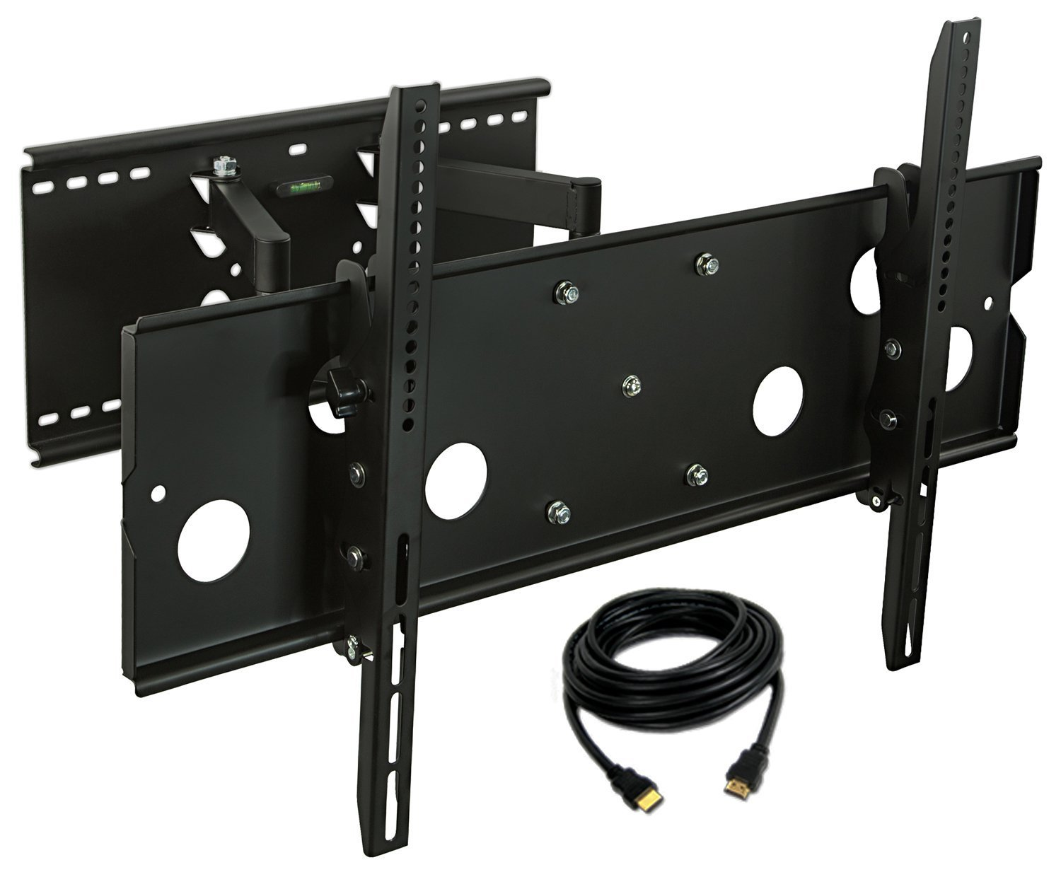 Mount-it! MI-310B-CBL TV Wall Mount Full Motion and Heavy-Duty, Swivels and Tilts, for LCD LED Plasma 32'' - 60'' Screens, 175 lb Weight Capacity, 6 Ft. HDMI Cable Included, Black (MI-310B)