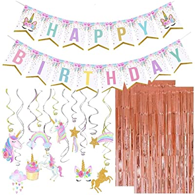 Unicorn Party Decorations, Unicorn Birthday Party Supplies, Unicorn Hanging Swirl Decorations, Happy Birthday Banner Unicorn Themed Party Favors, 2pcs Rose Gold Metallic Tinsel Foil Fringe Curtains: Toys & Games [5Bkhe0204018]