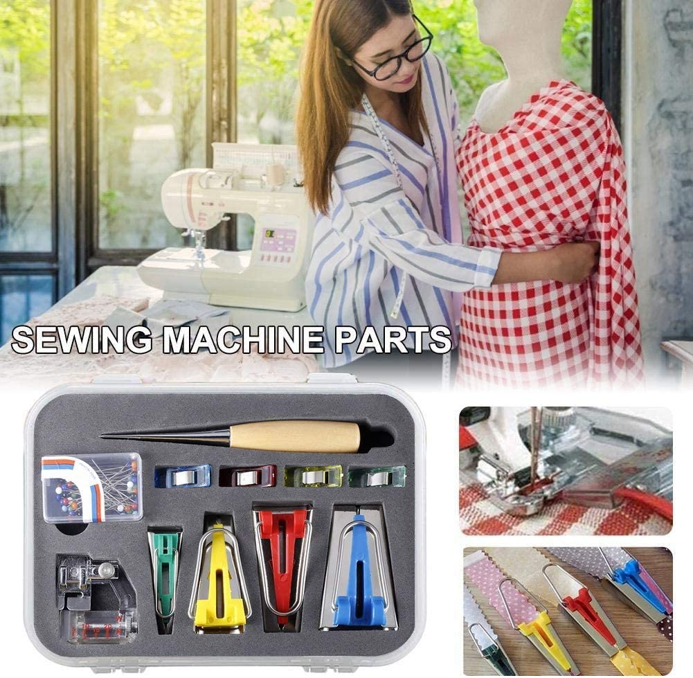 Bias Tape Maker Set Folder Kit DIY Sewing Fabric Bias Tape Maker for Quilting Binding Tool Set 6MM//12MM//18MM//25MM Craft Clips Awl Quilters Pin