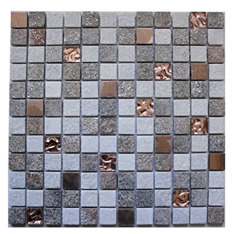 Legion Furniture Mixed Stone Metal And Glass Inch Square Wall - 1 inch square ceramic tiles