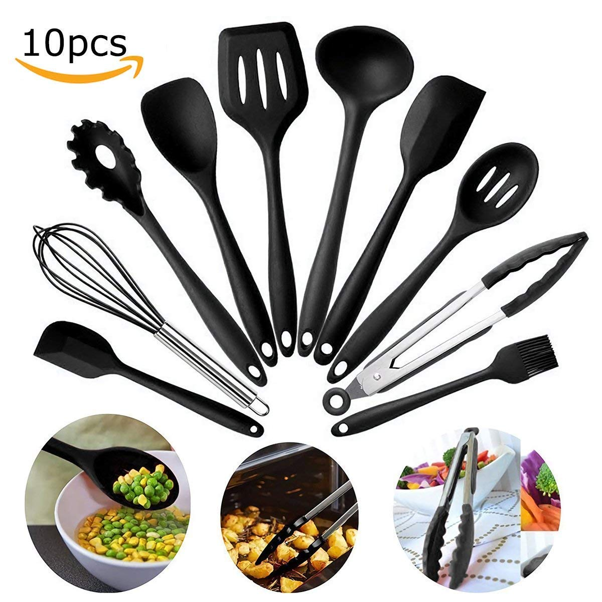 Kitchen Utensil Set Nylon Potato Masher - Non-Stick, Non-Scratch, Heat Resistant, Dishwasher Safe, Eco-Friendly Cooking Tools & Accessories 10pcs/Set (Black)