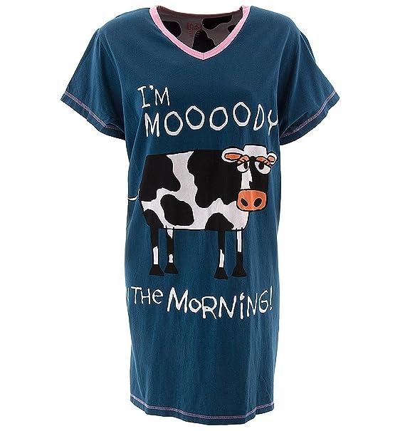 LazyOne Mujer Mooody in the Morning Camisa Dormir V Neck L/XL