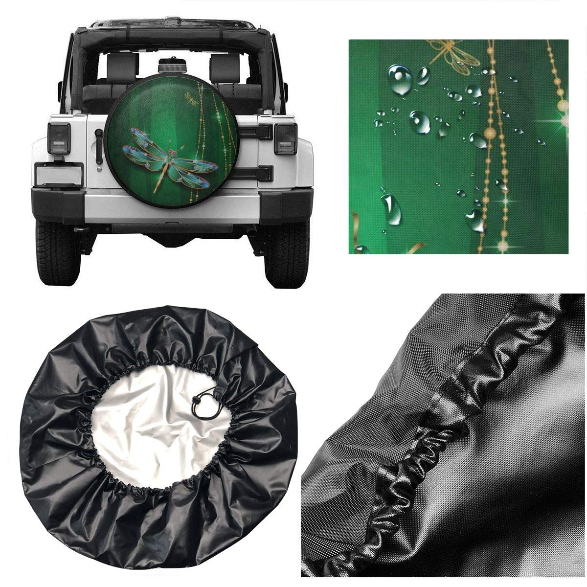 Deaowangluo Spare Tire Cover Jeep Dragonfly Pattern Trailer Truck RV SUV Covers Travel Universal 16 Inch