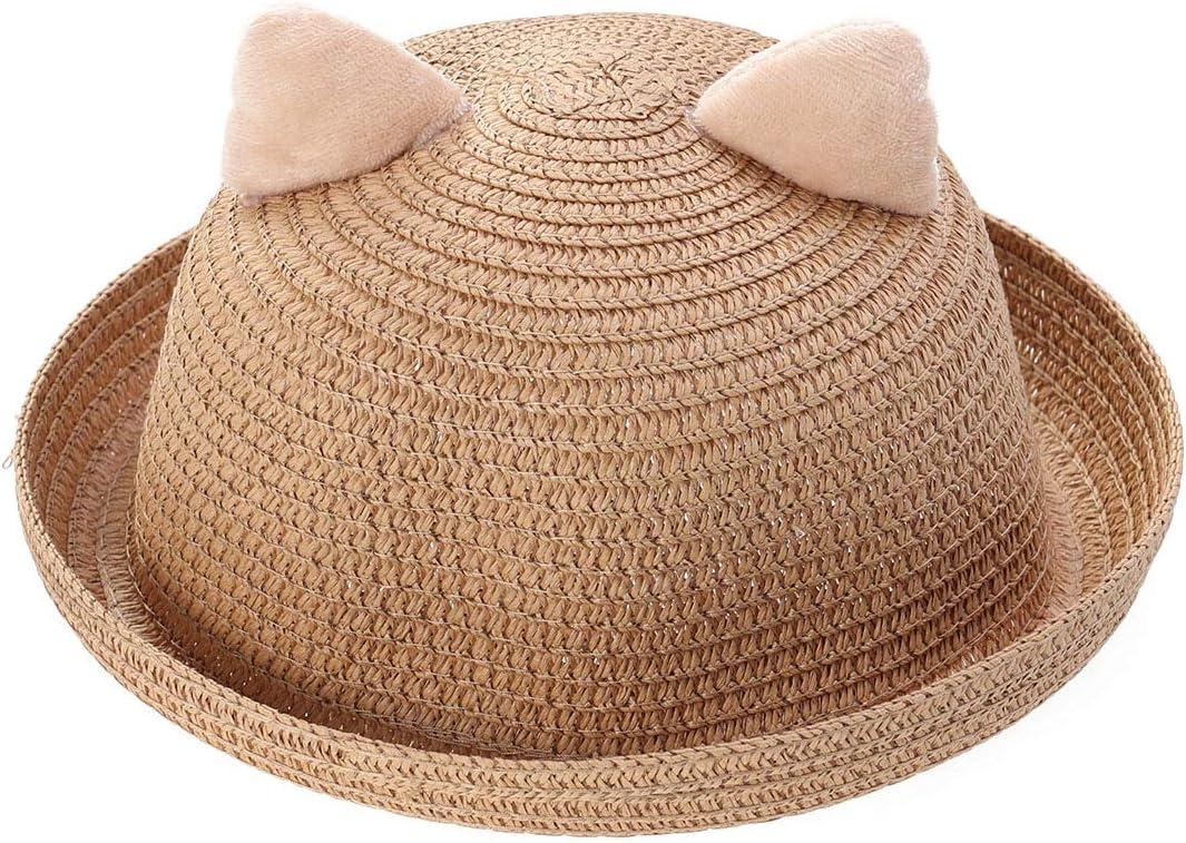 Khaki TENDYCOCO Kids summeer Animal Hats Beach hat Cartoon cat Cap Straw hat Cute Animal Sun hat