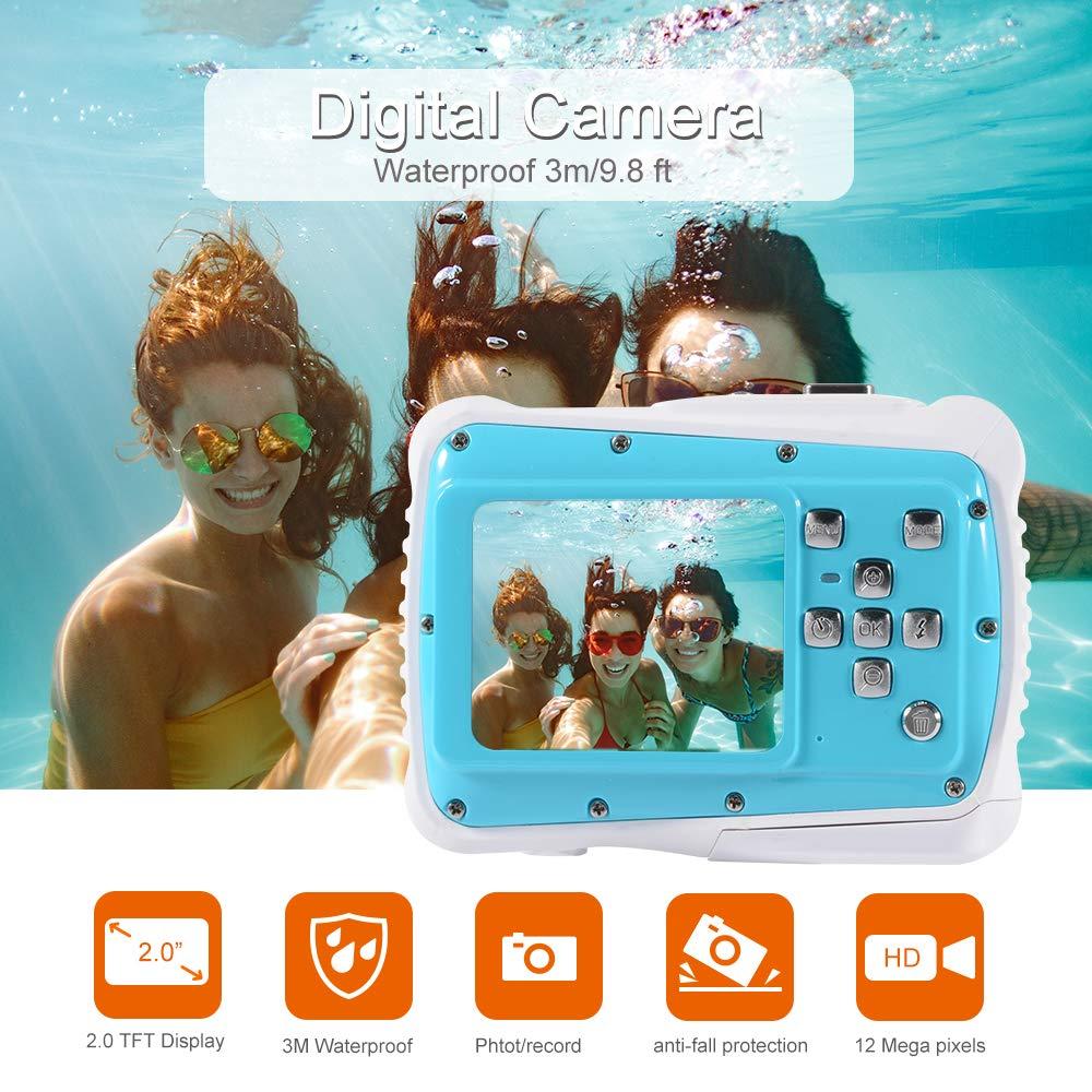Kreema Caméscope sous-Marin étanche avec caméra d'action numérique pour Enfants 12MP HD