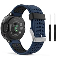 MoKo Garmin Forerunner 235 Smartwatch bracelet, Watch Band flexible en silicone avec des outils pour Forerunner 235/220/230/620/630/735 Montre de Running GPS avec Cardio au Poignet, Bleu Nuit et Noir