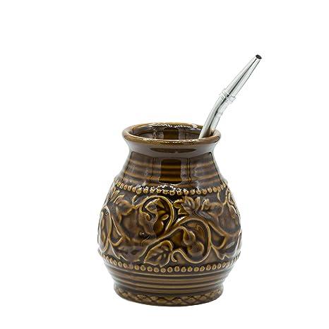 Amazon.com: Yerba Mate - Calabaza de cerámica con relieve ...