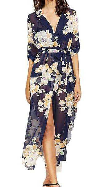 Battercake Vestidos Maxi Mujer Vintage Boho Floral Vestido Gasa Manga Larga V Casuales Mujeres Cuello Casual Chic Abiertas Delgado Vestido Playa Vestidos De ...