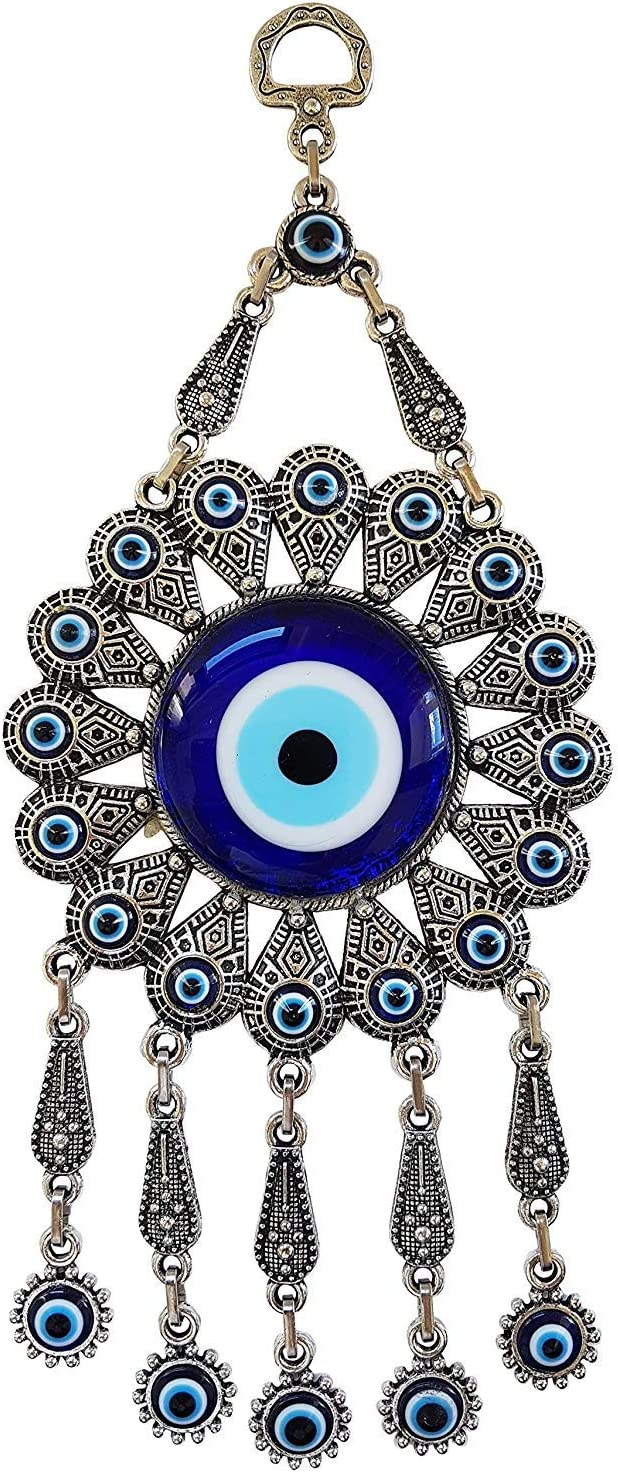 Erbulus Turkish Glass Blue Evil Eye Wall Hanging Ornament with Flower Design - Metal Home Decor - Turkish Nazar Bead Amulet - Protection and Good Luck Charm Gift in a Box