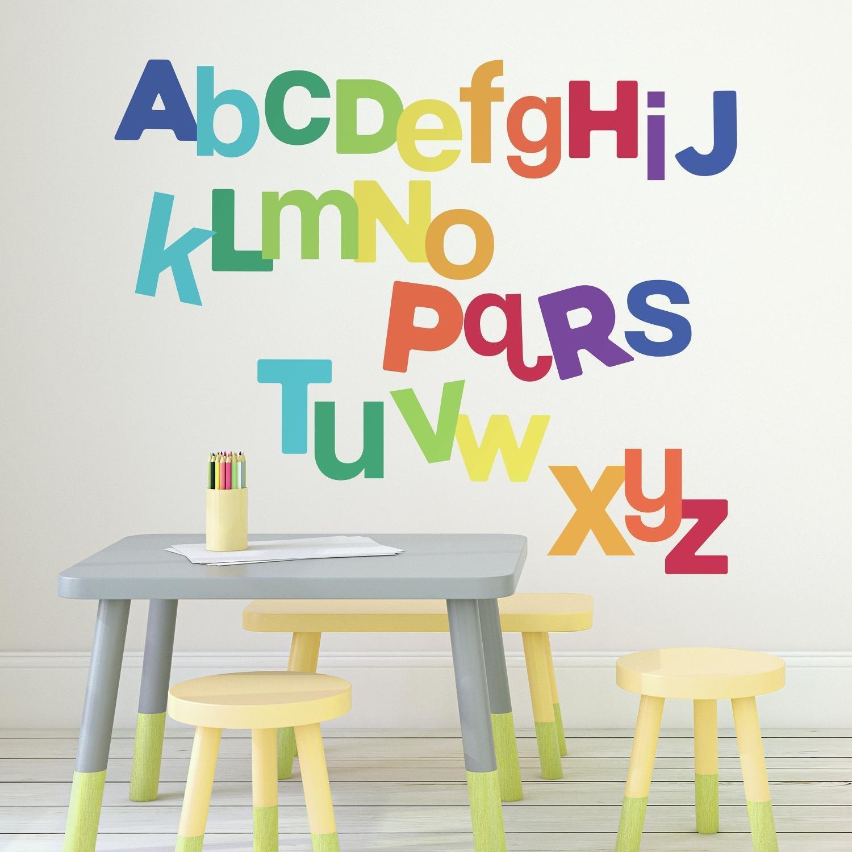 Vinilo Decorativo Pared [75ZVQD9X] abecedario multicolor