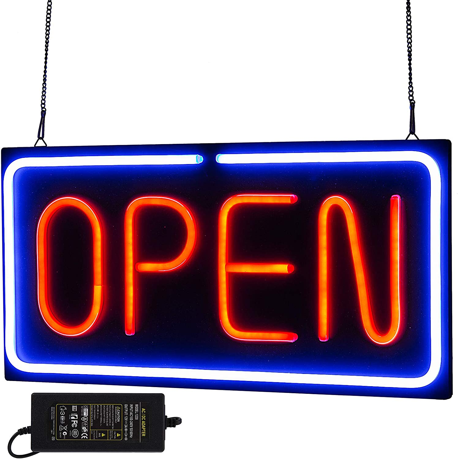 "VEVOR Neon Open Sign 24x12 inch Led Open Sign 30W Horizontal Sign Open with 24 inch Hanging Chain and Power Adapter Bright Light for Business Walls Windows Bar Hotel Shops (24""X12""X1.2""-30W)"