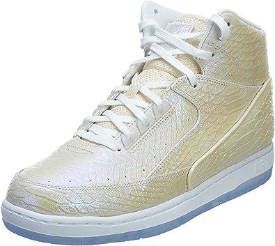 Nike Air Python PRM Men Round Toe Leather Basketball Shoe (10 M US, White)