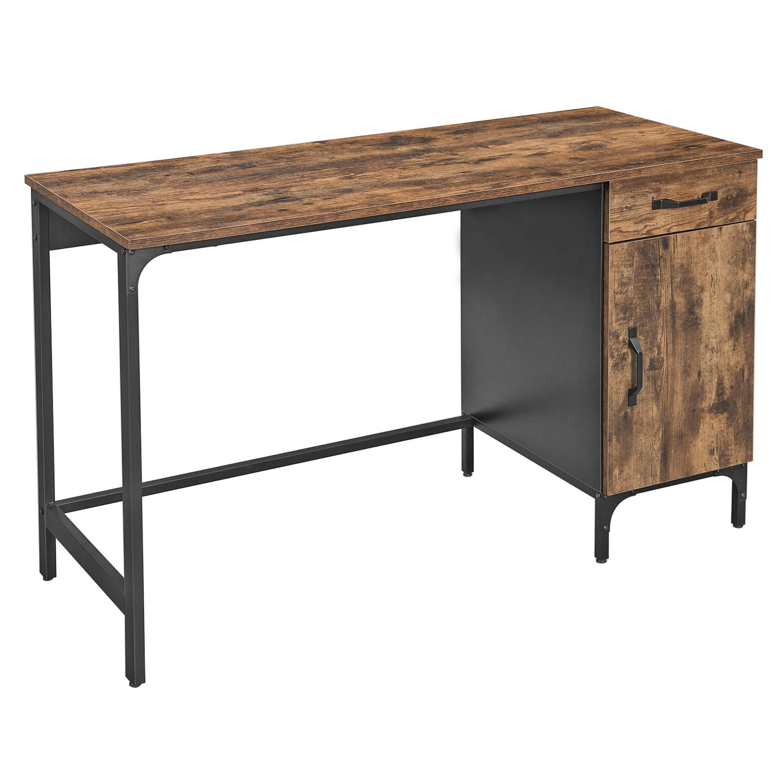 VASAGLE Computer Desk, Writing Desk for Study, Office Desk with Drawer and Cabinet, Home Office, Living Room, Bedroom, Study, Simple Assembly, Metal, Industrial Design, Rustic Brown LWD51X
