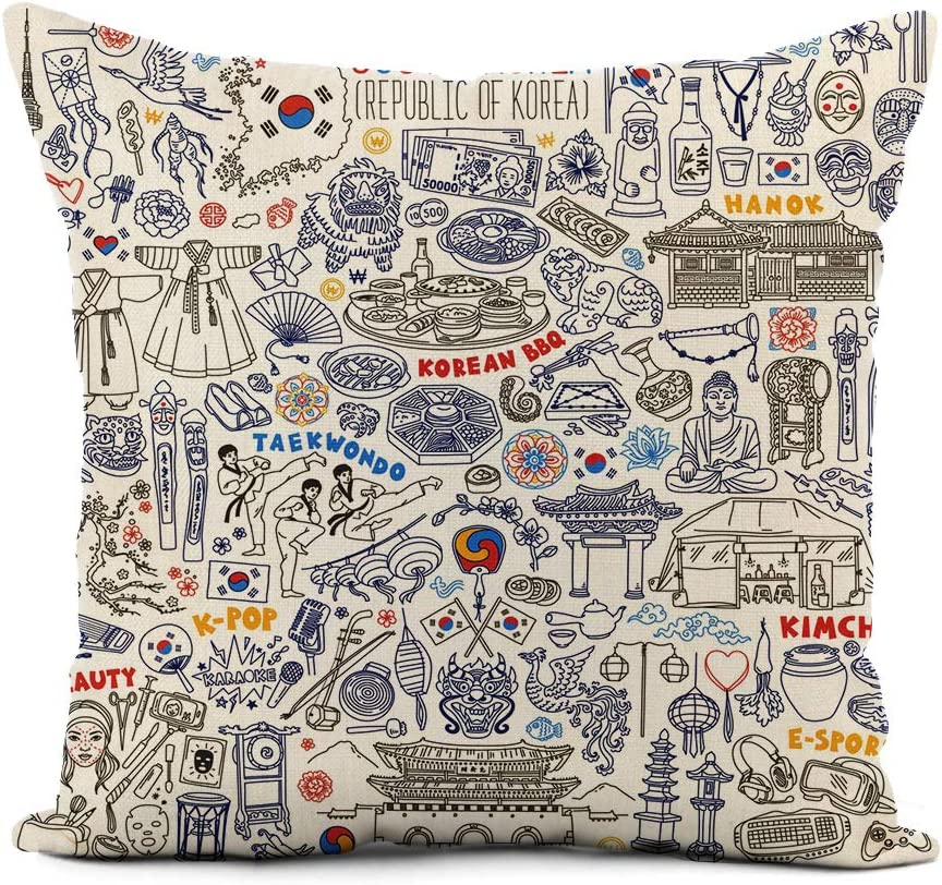 rouihot Linen Throw Pillow Cover South Korea Traditional Symbols Food and Landmarks Doodle Korean Home Decor Pillowcase 20x20 Inch Cushion Cover for Sofa Couch Bed and Car