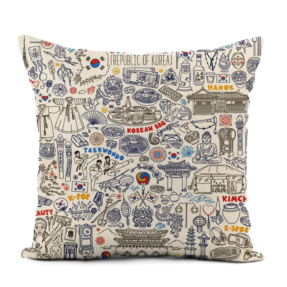 rouihot Linen Throw Pillow Cover South Korea Traditional Symbols Food and Landmarks Doodle Korean Home Decor Pillowcase 16x16 Inch Cushion Cover for Sofa Couch Bed and Car