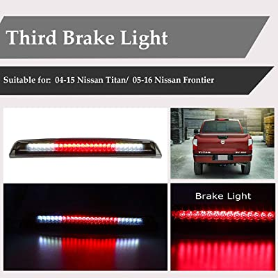 LED Third Brake Light Assembly Cargo Light High Mount Stop Light Tail Light Replacement for 2004-2015 Nissan Titan, 2005-2016 Nissan Frontier 26590-EA800 (Chrome Housing Smoke Lens): Automotive [5Bkhe2002661]