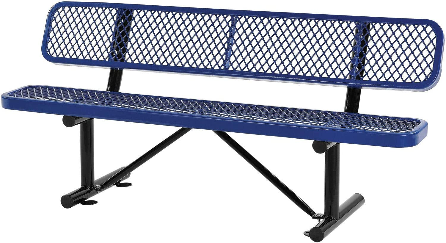72 L Expanded Metal Mesh Bench W Back Rest Blue Kitchen Dining Amazon Com