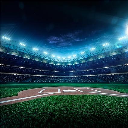 AOFOTO 10x10ft Baseball Field Backdrop Sports Match Stadium Photography Background Ball Park Grandstand Man Boy Adult