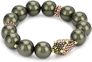 product image for Miguel Ases Ocean Pearl and Rose Gold Beaded Station Stretch Bracelet