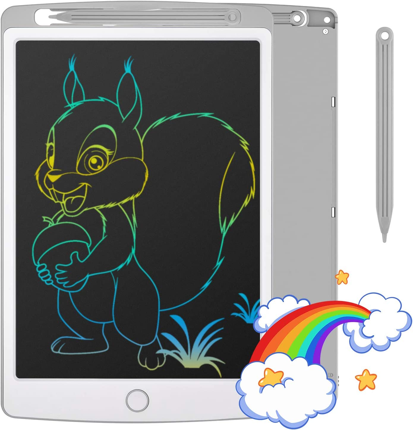 TECBOSS LCD Writing Tablet, Newest Colorful Screen with Lock Function Erasable Doodle Board Electronic Digital Drawing Pad, Toys Gifts for Kids Adults Home School Office (Gray, 10 in)