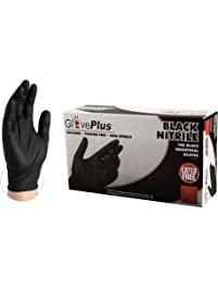 GlovePlus Industrial Black Nitrile Gloves - 5 mil, Latex Free, Powder Free, Textured, Disposable, Large, GPNB46100-BX...