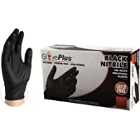 GlovePlus Industrial Black Nitrile Gloves - 5 mil, Latex Free, Powder Free, Textured, Disposable, Medium, GPNB44100BX, Box of 100