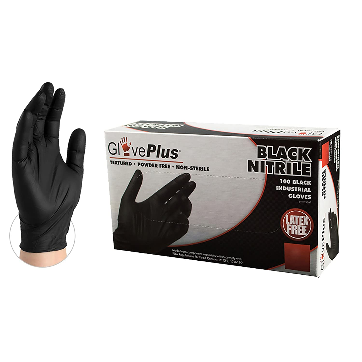 GlovePlus Industrial Black Nitrile Gloves - 5 mil, Latex Free, Powder Free, Textured, Disposable, Medium, GPNB44100-BX, Box of 100