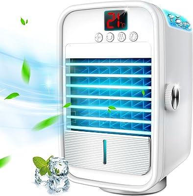 冷風機 【2021年 最新登場】 冷風扇 小型 卓上冷風機 「自動首振り LCD温度表示」