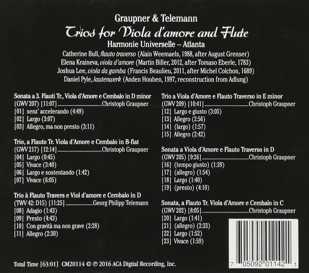 UNIVERSELLE HARMONIE - Trios for Viola damore & Flute - Amazon.com Music