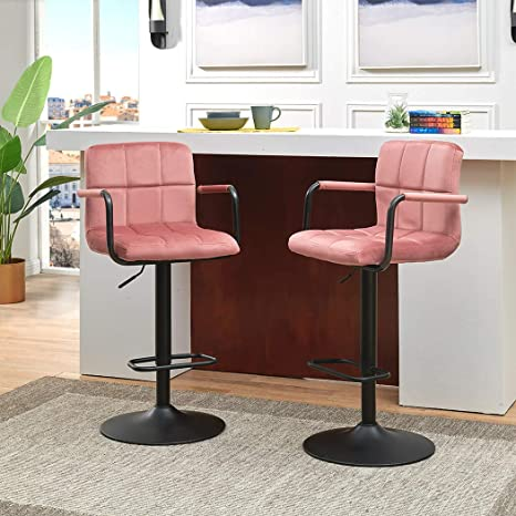 Prime Duhome Bar Stools Set Of 2 Modern Square Velvet Adjustable Barstools Counter Height Stools With Arms And Back Bar Chairs 3600 Swivel Stool Pink Machost Co Dining Chair Design Ideas Machostcouk