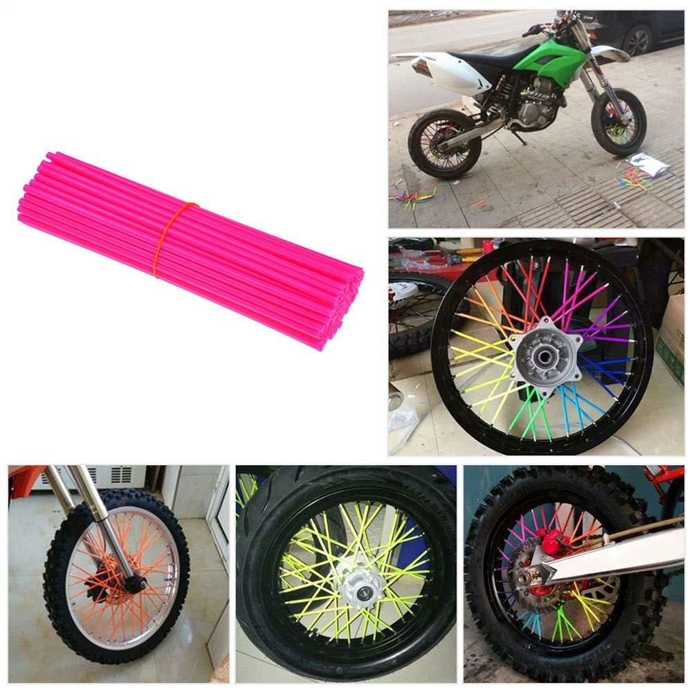72Pcs Universal 8-21 Rims Tubes Decor Protector Wheel Rim Spoke Skins Wraps Set fits for Yamaha Kawasaki Suzuki Honda KTM Pink