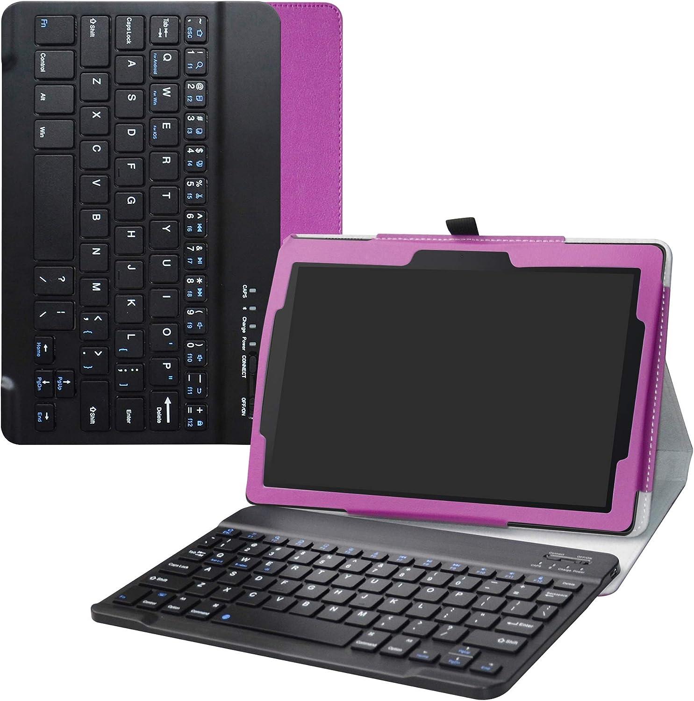 Labanema Lenovo Tab E10 Teclado Funda, PU Estuche con Wireless Teclado Cover QWERTY para 10.1