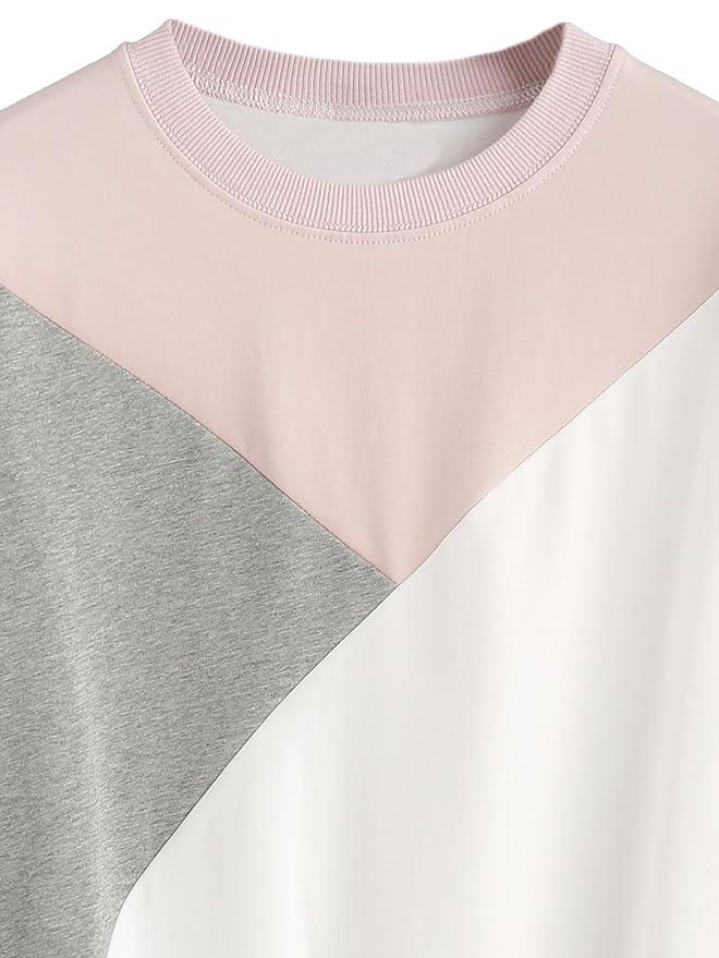 ROMWE - Sudadera - capa - Cuello redondo - Manga Larga - para mujer tricolor Talla única : Amazon.es: Ropa y accesorios