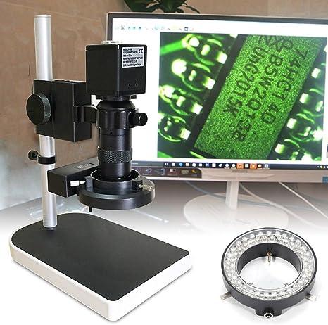RanBB Lab Electron - Lupa microscópica de 16 MP 1080P para televisores y HDMI, Montura en C, cámara Digital de microscopio, Tarjeta TF, Zoom 10-180X con Soporte para reparación de PCB: Amazon.es: