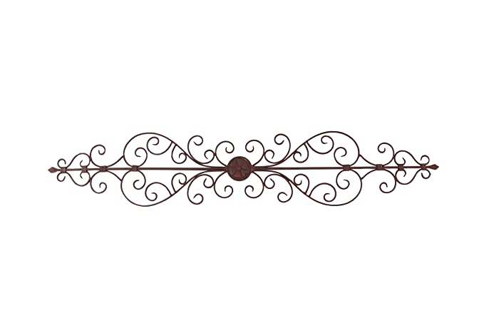 "Deco 79 Rustic Floral and Scrolled Metal Wall Decor, 8"" H x 44"" L, Textured Bronze Finish"