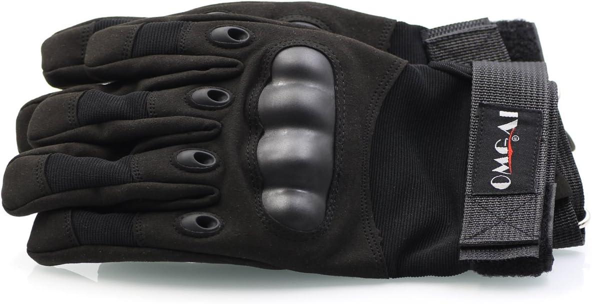 OMGAI Hombres Completa Guantes de t/áctica Militar del ej/ército Tobillo duras con Velcro para Airsoft Paintball Moto Outdoor Sport Negro