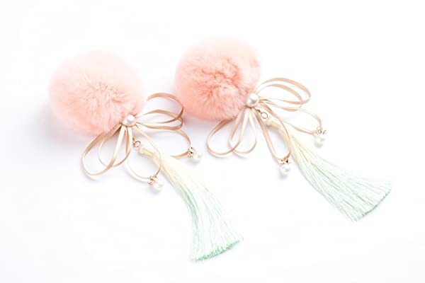 JasminessHandmade-Chinese Traditional Vintage Customized han-wedding/cosplay/cheongsam Hairpin-lolita style-Handmde with seto rabbit fuzzy ball/ice silk tassle