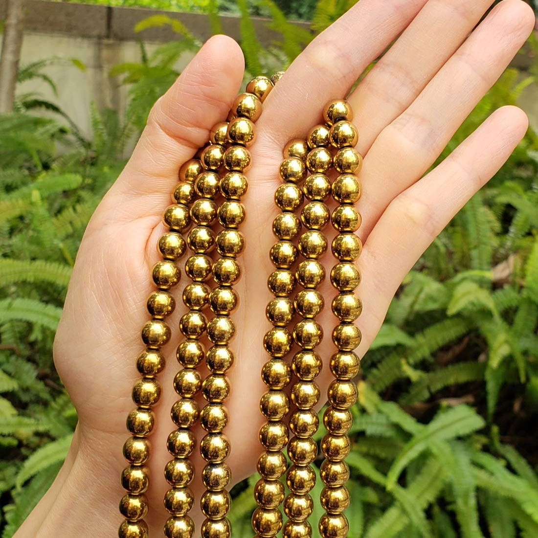 for Jewelry Craft Making GFC3-6 2 strands Top Quality Hematite Gold Plated Gemstone 6mm Round Loose Stone Beads ~ 118-126pcs total