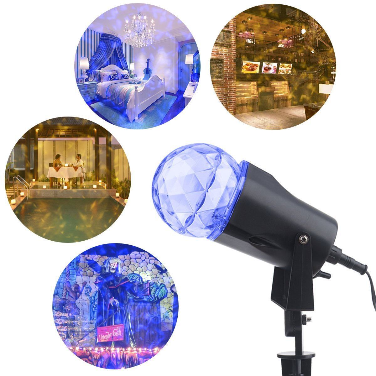 YMING Kaleidoscope Projection Spotlight, Outdoor LED Rotating Light Show Crystal Ball Flame Light Waterproof Garden Party Landscape Light, Blue White