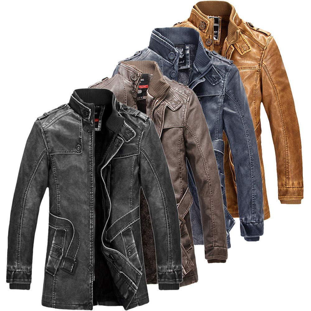 Rambling New Mens Fashion Vintage Belted Fleece Lined PU Faux Leather Jacket Thick Coat